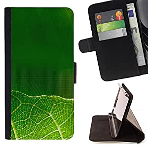DEVIL CASE - FOR Samsung Galaxy A3 - Green leaves - Style PU Leather Case Wallet Flip Stand Flap Closure Cover