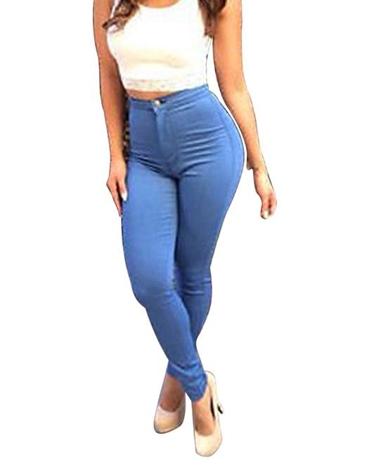 1d1f1f326c Donna Jeggings Elastici Leggings Vita Alta Jeans Stretti Pantaloni ...