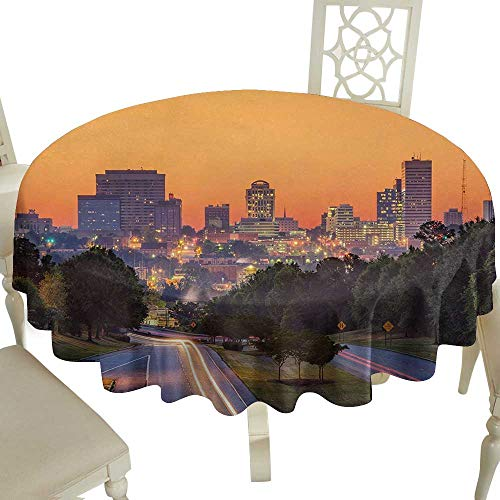 polyester round tablecloth 50 Inch United States,Skyline of Columbia City South Carolina Main Street Urban Scene,Orange Dark Green Blue Suitable for Party,outdoors,Farmhouse,coffee shop,restaurant Mor