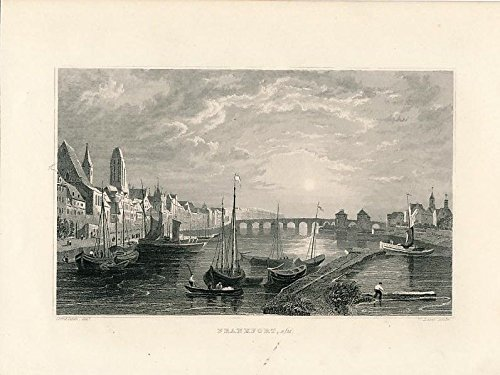 Frankfurt Frankfort Germany river view 1882 nice old antique panoramic print