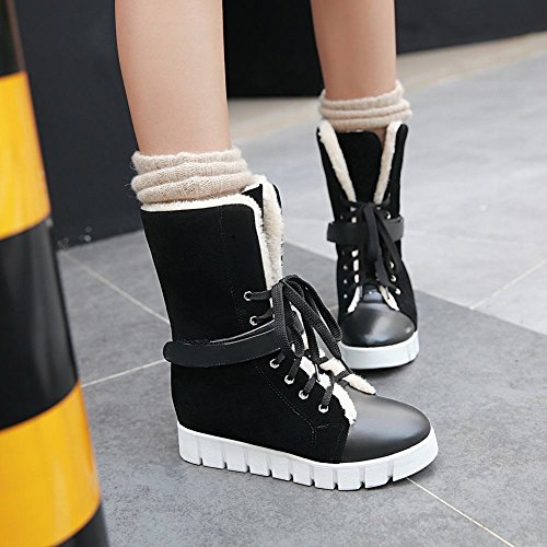 Carolbar Womens Lace-up Warm Winter Comfort Hideen Heel Snow Boots Zwart