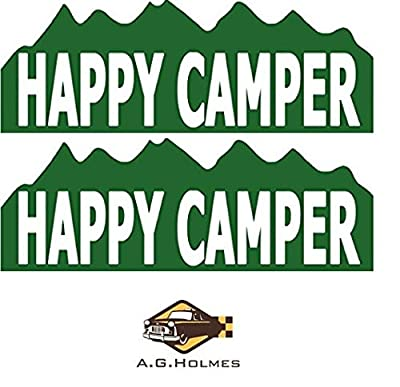 "2pcs Happy Camper Funny Camping Bumper Sticker 9"" X 3.5"" Decal / Sticker / Helmet / Laptop - AG HOLMES"