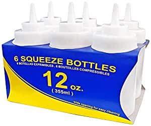 New Star 25965 Wide Mouth Plastic Squeeze Bottles, 12-Ounce, Clear, Set of 6
