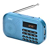 Yorek Mini Digital FM Radio Player, Portable Media Speaker, MP3 Music Player Support Micro Sd Card / USB Disk with LED Screen Display for PC, iPod, iPhone and Android (Blue)