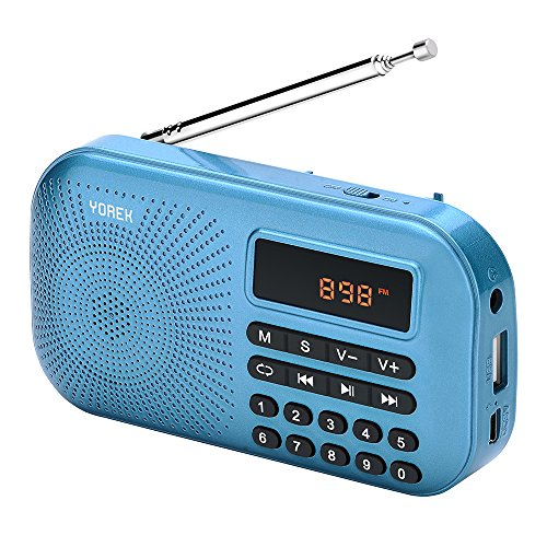 Yorek Portable Mini FM Radio Player, Digital Media Speaker, MP3 Music Player Support Micro Sd Card / USB Disk with LED Screen Display (Blue)