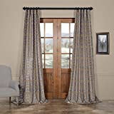 HPD Half Price Drapes PTFFLK-C7E-84 Firenze Flocked Faux Silk Curtain, Silver & Gold, 50 x 84