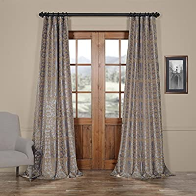 PTFFLK-C7E-96 Firenze Flocked Faux Silk Curtain, Silver & Gold, 50 x 96 - Sold per panel 100Percent polyester | lined 3Pole pocket with hook belt - living-room-soft-furnishings, living-room, draperies-curtains-shades - 519Y0H1Z58L. SS400  -