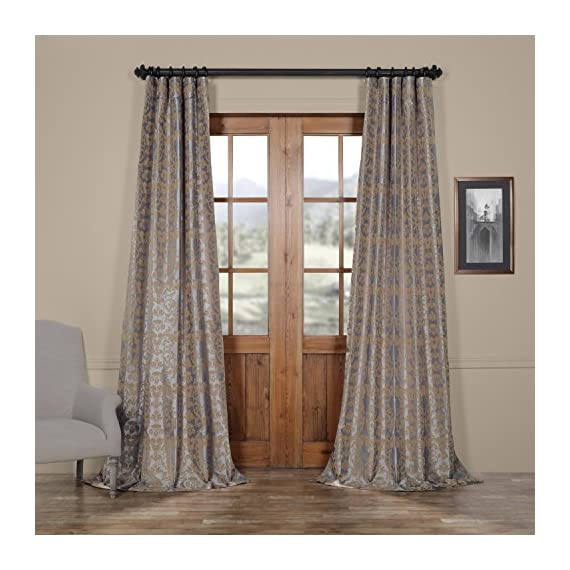 HPD Half Price Drapes PTFFLK-C7E-96 Flocked Faux Silk Curtain, 50 X 96, Silver & Gold - Sold per panel 100Percent polyester | lined 3Pole pocket with hook belt - living-room-soft-furnishings, living-room, draperies-curtains-shades - 519Y0H1Z58L. SS570  -