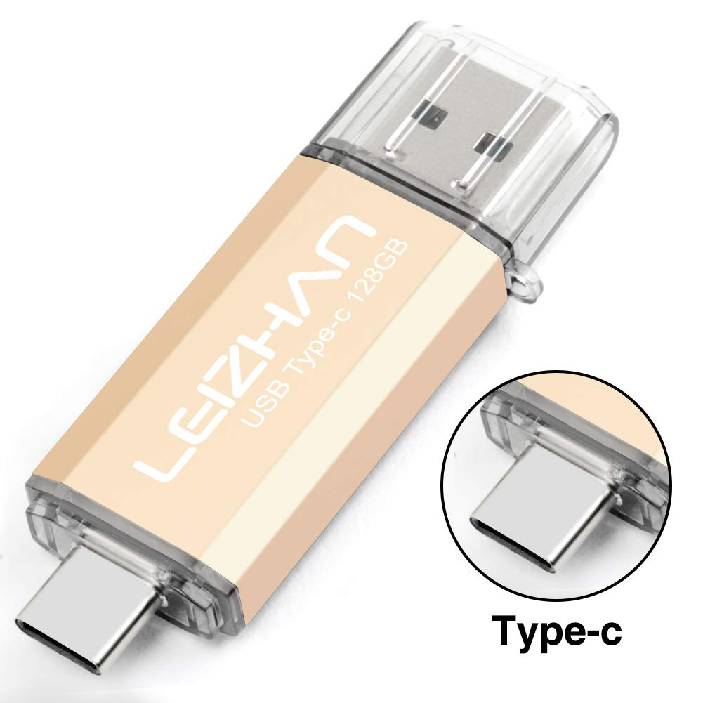 Type-C Flash Drive, USB-C Thumb Drive 3.0 for Samsung Galaxy Note10, S10,Note 9, S9, Note 8,S8,XiaoMi 9,Google Pixel,New MacBook, leizhan 32GB Photo Stick,Gold
