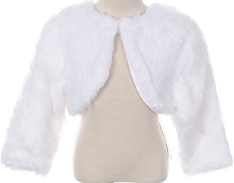 57d1b73074 BluNight Collection Little Baby Girls Faux Fur Flower Girl Cardigan Sweater  Bolero Jacket Shrug (90TR003K