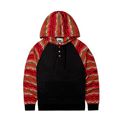 Beautiful Giant Men's Slim Fit Long Sleeve Light Weight Raglan Sleeve Color Blocked Pullover Hoodie Sweatshirt (Red, Medium)