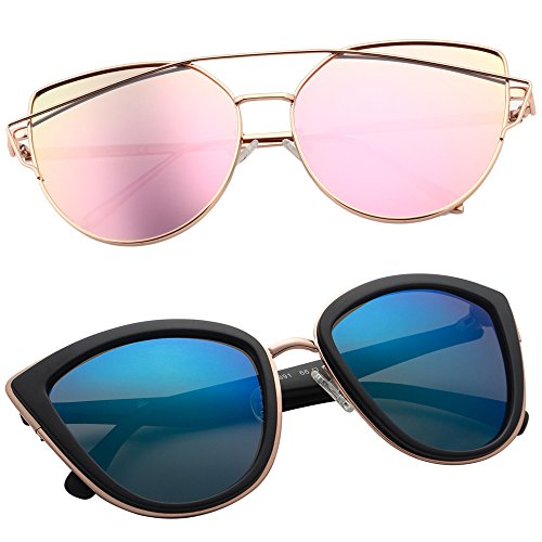 VIVIENFANG Women's Mirrored Cat eye Sunglasses Oversized Polarized Shades P1891+86933 2 - Quay Sunglasses Top Flat