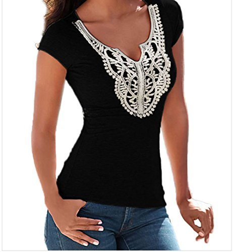 YeeATZ Crochet Lace Applique Heather T-shirt(Black,S) (Mime Masks For Sale)