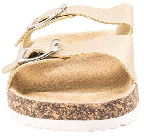 Elara Damen Sandalen | Bequeme Zehentrenner | Komfort Riemchen | chunkyrayan Gold 2