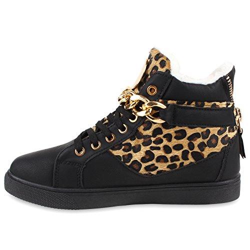 Stiefelparadies Warm Gefütterte Damen Sneakers High Ketten Winter Schuhe Flandell Schwarz Leopard