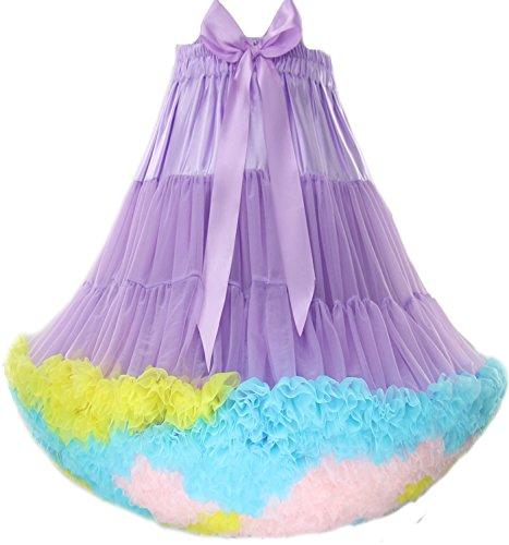 FOLOBE Adulte Luxueux Joli Petticoat Tutu Costume Ballet Danse Multi-couche Puffy Jupe Violet