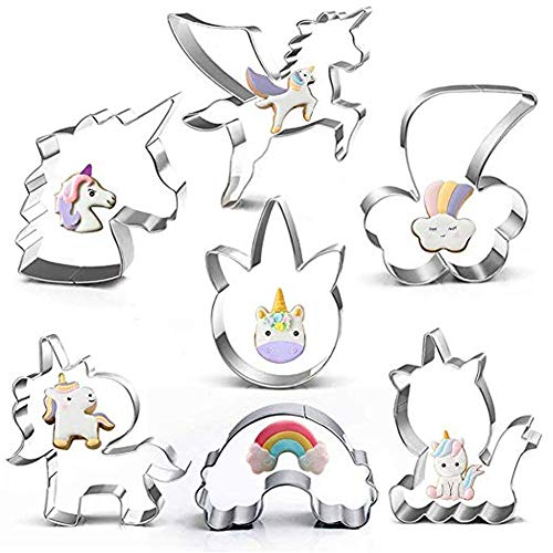 (Funny Unicorn Cookie Cutter Set-7 Piece-Including 5 Unicorn Face&Head, Rainbow, Shooting Star, Fantasy Unicorn Fondant Molds for Kids Holiday Baby Shower Party)