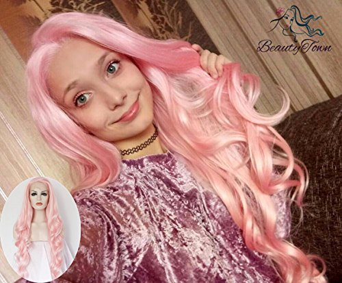 Pink Body Wavy Glueless Daily Makeup Drag Queen Synthetic Lace Front Wigs For Sale