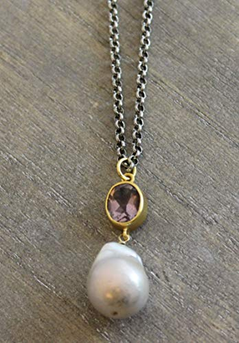 Amethyst Cultured Freshwater Baroque Pearl Oxidized Sterling Silver Necklace, 18 inches