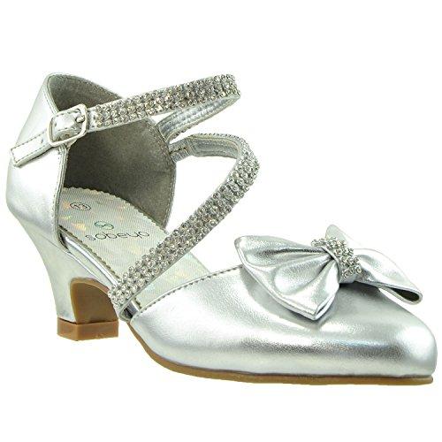 Kids Dress Shoes Rhinestone Bow Accent Kitten Heel Sandals Silver SZ 4