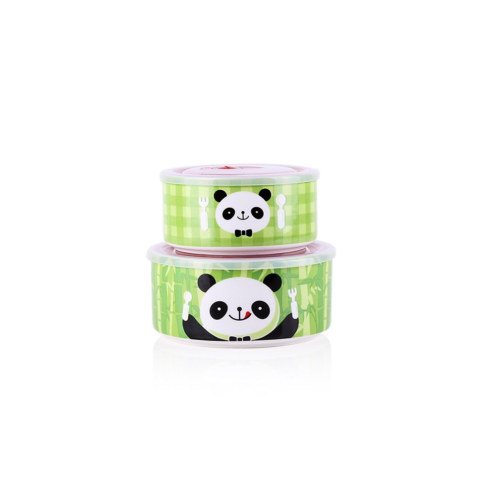 UPSTYLE Microwave Food Storage Bowl With Plastic Lid Ceramic Lunch Bento Boxes Animal Pattern Serve and Store 6.18'' Bowl ,Set of 2 (Panda)