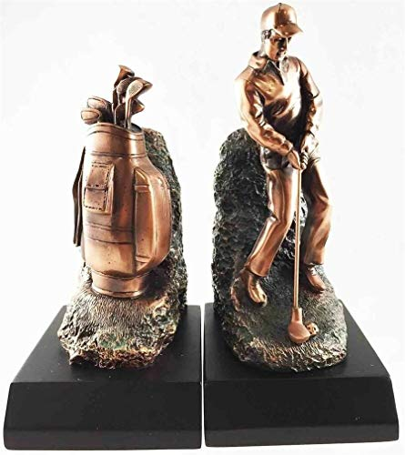 Ky & Co YK Golfer with Golf Caddy Bag Bookends Bronze Electroplated Figurine Father's Gift