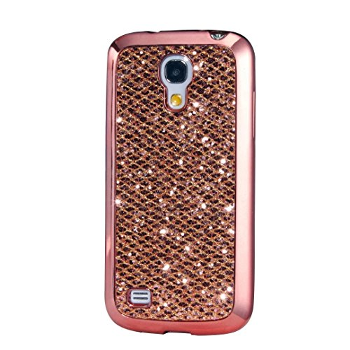 KSHOP Case for Samsung Galaxy S4 Soft Silicone TPU Rosegold Glossy Glitter Bling Shining Luxury Protective Case Cover with Eletroplating Frame Cell Phone Back Bumper Shell