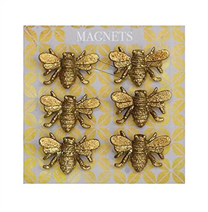 Amazon.com: Creative Co-op Set of 6 Pewter Bee Magnets on a Card 36 ...
