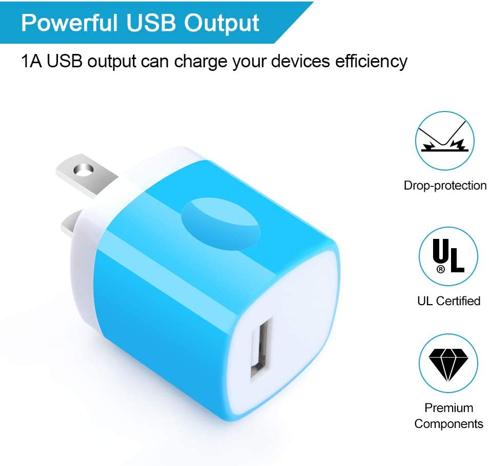 One Port USB Wall Charger LG G8 G7 Samsung Galaxy S10e S10 S9 S8 Plus//S7//Note 9//8 Charging Block 5Pack Travel 1A USB Charger Cube Brick Charger Boxes Compatible iPhone Xs Max//X//8 Plus//7//6S Plus