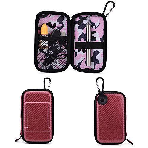 Portable Vape Case suitable for O Pen e-cig Vape G Pen eGo Atmos oil HERBAL wax Vaporizer Sticky MT3 [SLIM MAROON & PINK CAMO SEMI-HARD SHELL] Includes Carabiner Hook for Easy Attachment + NextDIA Cable Tie