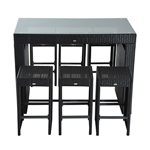 Outsunny 7 Piece Rattan Wicker Bar Stool Dining Table Set  : 519Y2wOA7GL from patioandfurniture.org size 500 x 500 jpeg 36kB