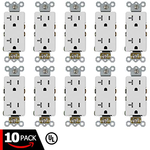 ESD Tech 20A Decora Duplex Receptacle - 10 Pack of Self- Grounding Tamper Resistant Electrical Wall Outlets, White, UL Listed, Residential & Commercial Grade, Straight Blade, 2-Pole