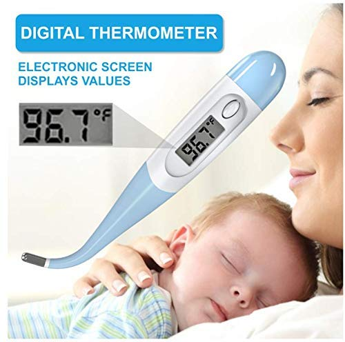 Digital Thermometer, Flexible Electronic Thermometer with Fever Alarm and Memory Function, Quick and Accurate Measurement OralThermometer, Suitable for Newborns, Children and Adults