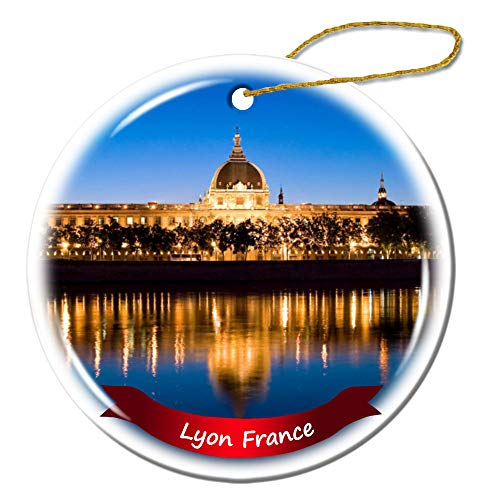 Fhdang Decor Lyon France Christmas Ornament Porcelain Double-Sided Ceramic Ornament,3 Inches (Lyon Ornaments France Christmas)