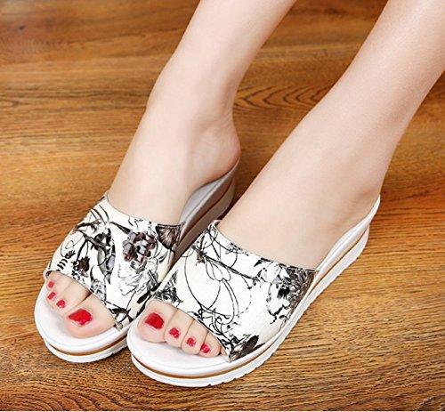 KHSKX-4.5Cm Cuña Sandalias De Verano De Moda Zapatos De Plataforma Talud Con Boca De Pescado Zapatos Sandalias Una Lata Hembra Zapatillas Treinta Y Nueve Thirty-seven