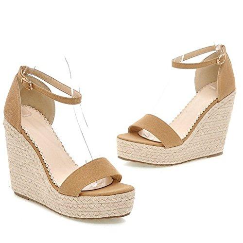 COOLCEPT Zapatos Mujer Verano Cool Comodo Al Tobillo Tacon de Cuna Sandalias Beige