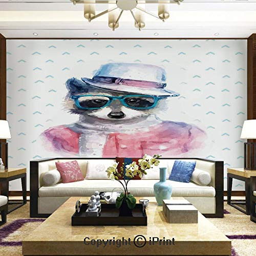 (Mural Wall Art Photo Decor Wall Mural for Living Room or Bedroom,Retro Hipster Funky Raccoon with Sunglasses Hat Pullover Portrait Animal Humor Theme,Home Decor - 66x96 inches )