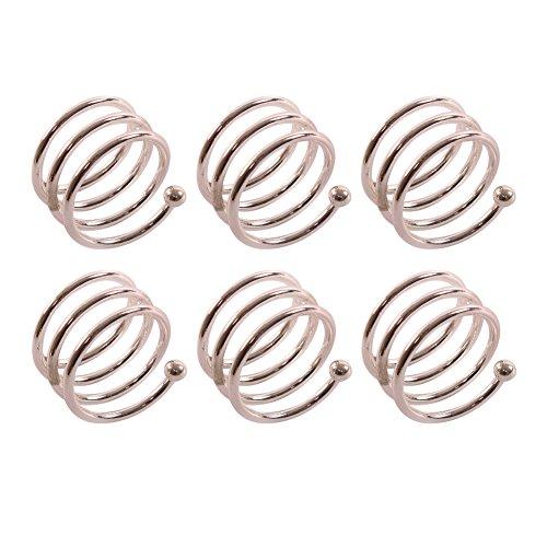 Frjjthchy 6 Pcs Stainless Steel Spiral Napkin Rings Serviette Holder (Silver) Coral Branch Napkin Rings