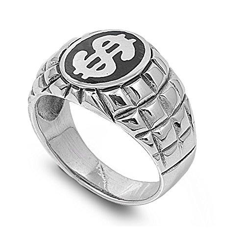 Princess Kylie 925 Sterling Silver Dollar Sign Center Designer Stamp Ring Size - Sign Ring Mens Dollar
