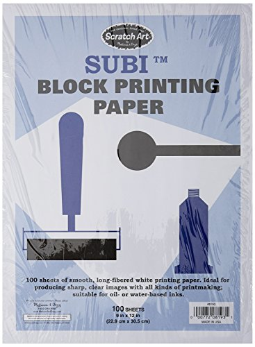 Melissa & Doug Scratch Art Subi Block Printing Paper (9 x 12 inches), White - 100 Sheets - Paper Block Printing Ink