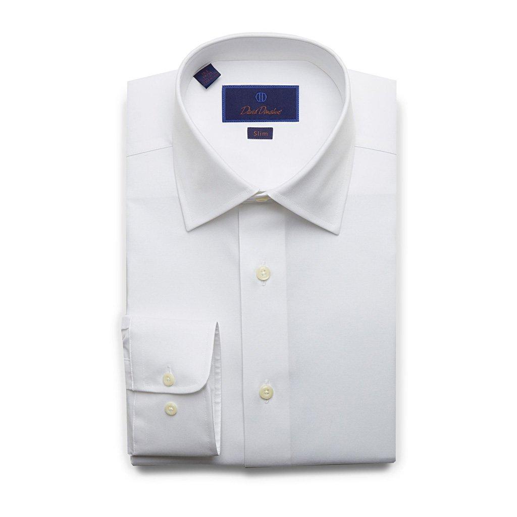 David Donahue Super Fine Twill Barrel Cuff Slim Fit Dress Shirt 17.5'' Neck 32/33'' Sleeve White