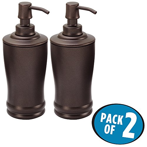 mDesign Liquid Hand Soap Dispenser Pump Bottle for Kitchen, Bathroom | Also Can be Used for Hand Lotion & Essential Oils - Pack of 2, Bronze (Soap Classic Holder Traditional)