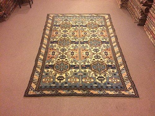 6.1x9.2 Feet Geometric Design Handmade Dark Blue Beige Blue Rug Vintage Handicraft Navy Blue Carpet Living Room Area Rug.Code:IM684