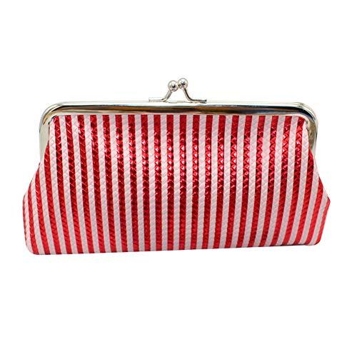 top0dream Fashion Women Braid Stripe Coin Purse Cosmetic Bag Kiss Lock Pouch Clutch - Red