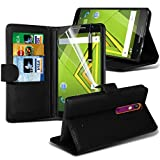 ONX3® ( Black ) Motorola Moto X Play Case Custom Made BookStyle PU Leather Wallet Flip With Credit / Debit Card Slot Case Skin Cover With LCD Screen Protector Guard, Polishing Cloth & Mini Retractable Stylus Pen