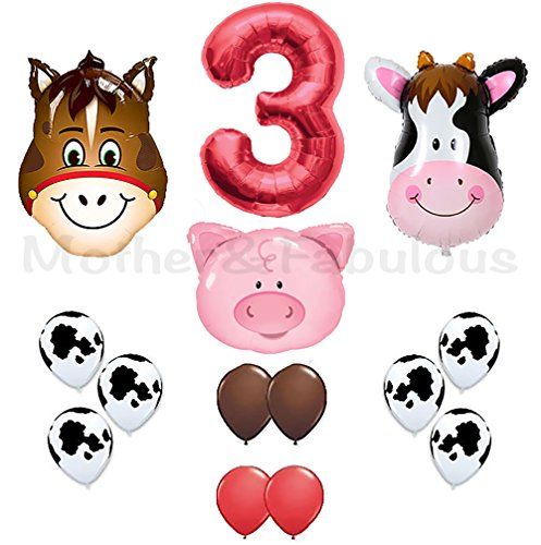 Red Cow Print - 3rd Birthday Farm Barn Animal Party Theme Balloons. Cow Donkey And Pig With 12