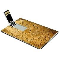 Luxlady 32GB USB Flash Drive 2.0 Memory Stick Credit Card Size golden design background IMAGE 36717344