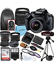 Canon EOS 4000D / Rebel T100 DSLR Camera with EF-S 18-55mm Lens + 32GB SanDisk Memory Card, Tripod, Flash, Backpack + ZeeTech Accessory Bundle photo