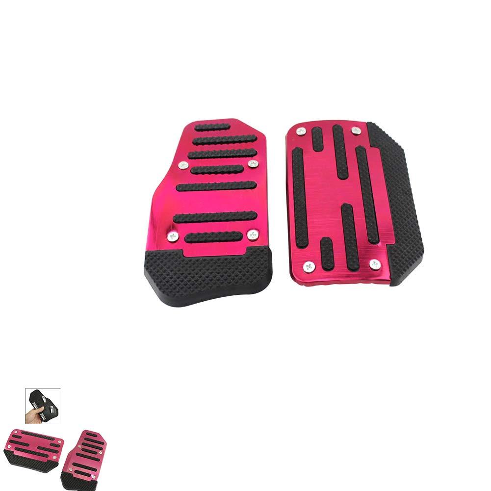 Automatic Car Auto Vehicle Aluminium Alloy Accelerator Clutch Pedal Foot Treadle Foot Brake Cover Anti Slip Pad Red 2Pcs