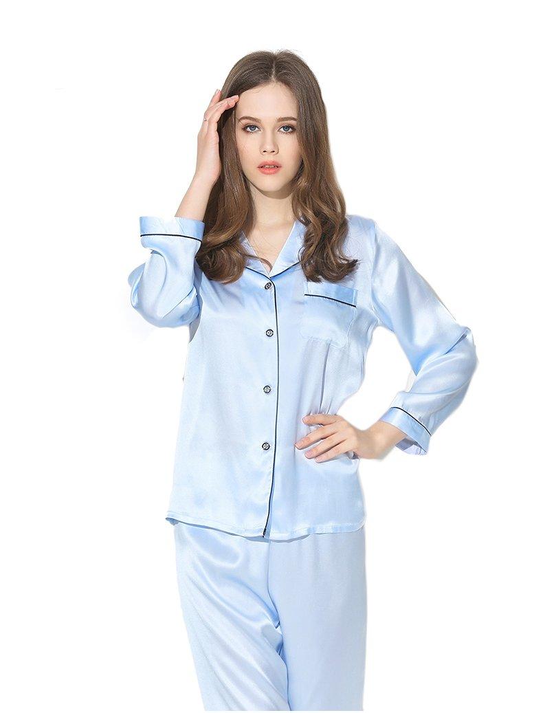 Women's Sleep Sets Pure Silk Nightwear Summer Nightclothes Blue S